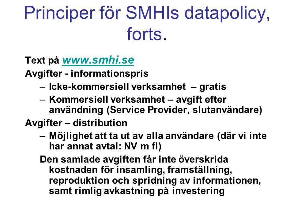 Principer för SMHIs datapolicy, forts. Text på www.smhi.se www.smhi.se Avgifter - informationspris –Icke-kommersiell verksamhet – gratis –Kommersiell