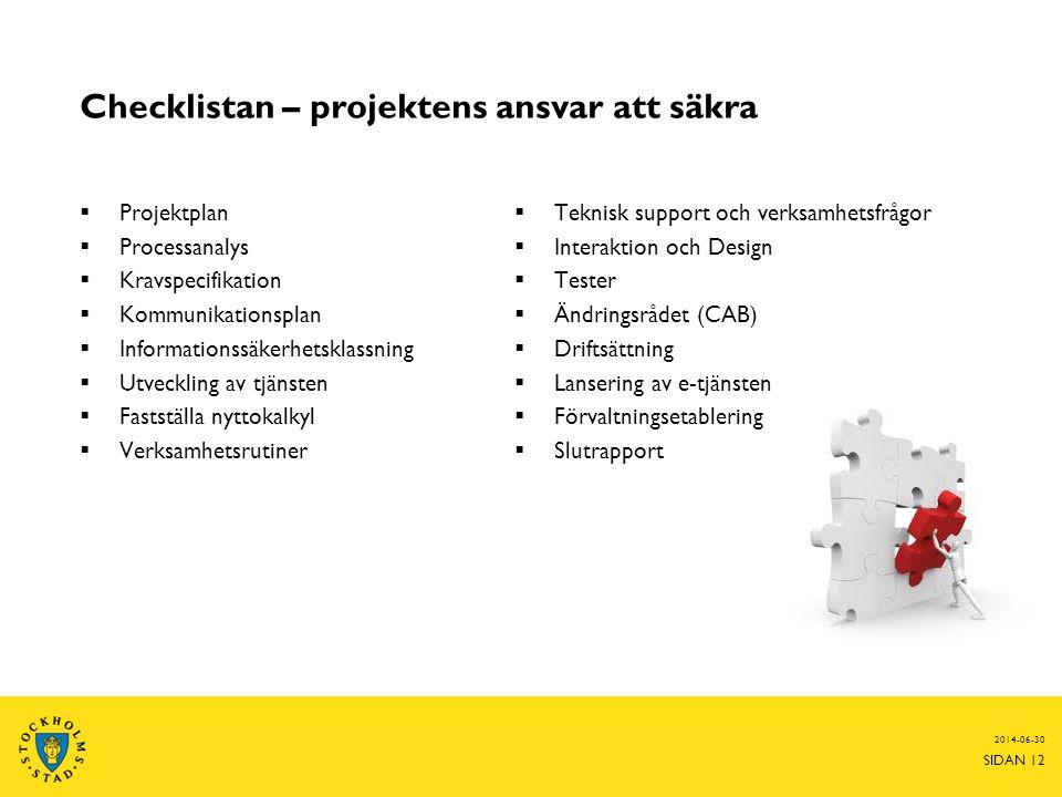 Checklistan – projektens ansvar att säkra  Projektplan  Processanalys  Kravspecifikation  Kommunikationsplan  Informationssäkerhetsklassning  Ut