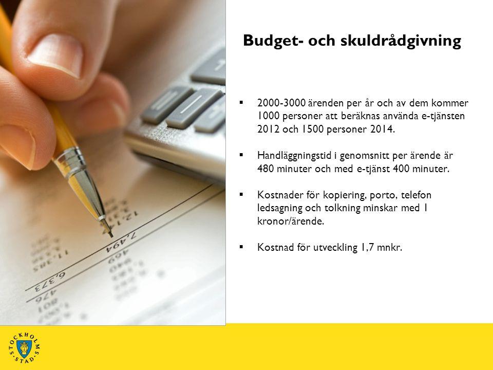  2000-3000 ärenden per år och av dem kommer 1000 personer att beräknas använda e-tjänsten 2012 och 1500 personer 2014.  Handläggningstid i genomsnit