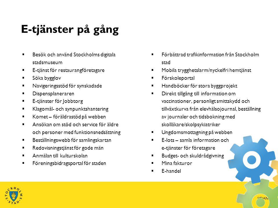 E-tjänster på gång  Besök och använd Stockholms digitala stadsmuseum  E-tjänst för restaurangföretagare  Söka bygglov  Navigeringsstöd för synskad