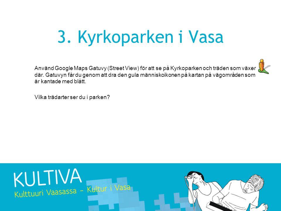 3. Kyrkoparken i Vasa Använd Google Maps Gatuvy (Street View) för att se på Kyrkoparken och träden som växer där. Gatuvyn får du genom att dra den gul