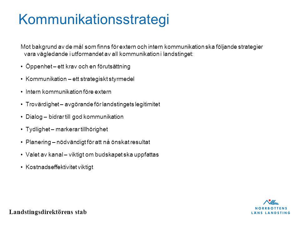 Landstingsdirektörens stab Kommunikationsstrategi Mot bakgrund av de mål som finns för extern och intern kommunikation ska följande strategier vara vägledande i utformandet av all kommunikation i landstinget: • Öppenhet – ett krav och en förutsättning • Kommunikation – ett strategiskt styrmedel • Intern kommunikation före extern • Trovärdighet – avgörande för landstingets legitimitet • Dialog – bidrar till god kommunikation • Tydlighet – markerar tillhörighet • Planering – nödvändigt för att nå önskat resultat • Valet av kanal – viktigt om budskapet ska uppfattas • Kostnadseffektivitet viktigt