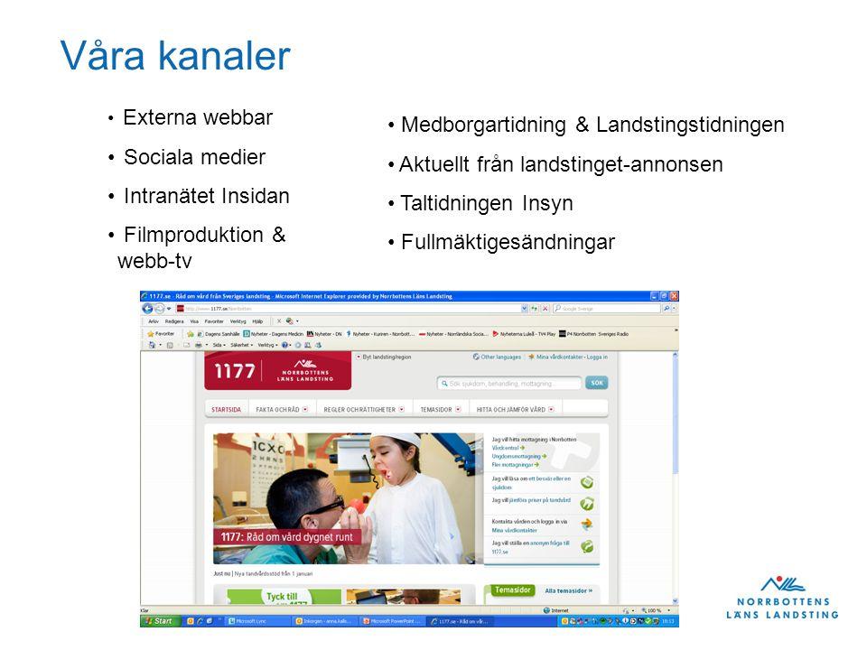 Landstingsdirektörens stab Mål extern kommunikation 2013 •Utveckla kommunikationen till patienter genom väntrums-TV.