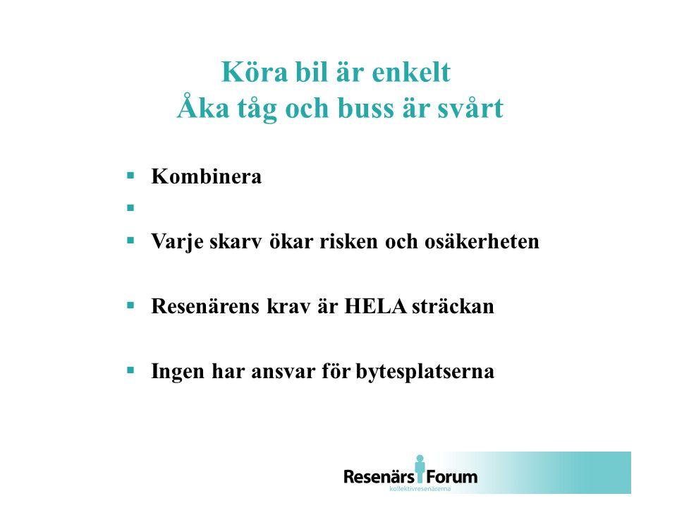  Kombinera   Varje skarv ökar risken och osäkerheten  Resenärens krav är HELA sträckan  Ingen har ansvar för bytesplatserna Köra bil är enkelt Åka tåg och buss är svårt