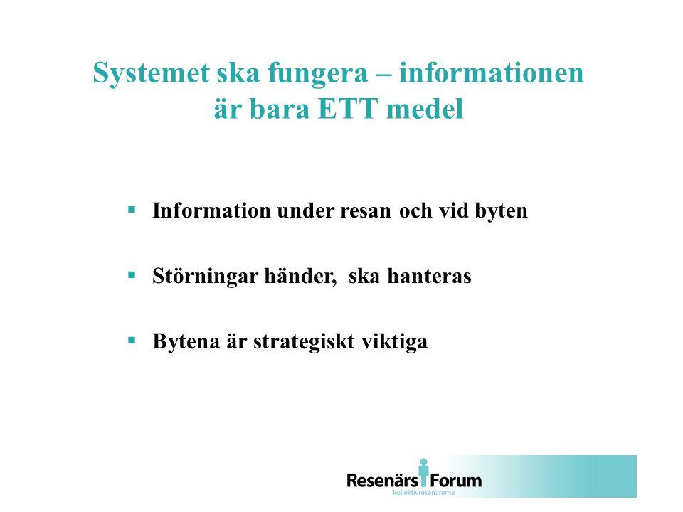  Information under resan och vid byten  Störningar händer, ska hanteras  Bytena är strategiskt viktiga Systemet ska fungera – informationen är bara ETT medel