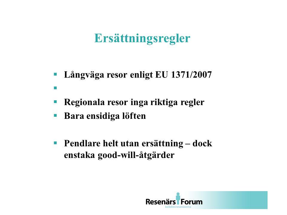  Långväga resor enligt EU 1371/2007   Regionala resor inga riktiga regler  Bara ensidiga löften  Pendlare helt utan ersättning – dock enstaka good-will-åtgärder Ersättningsregler