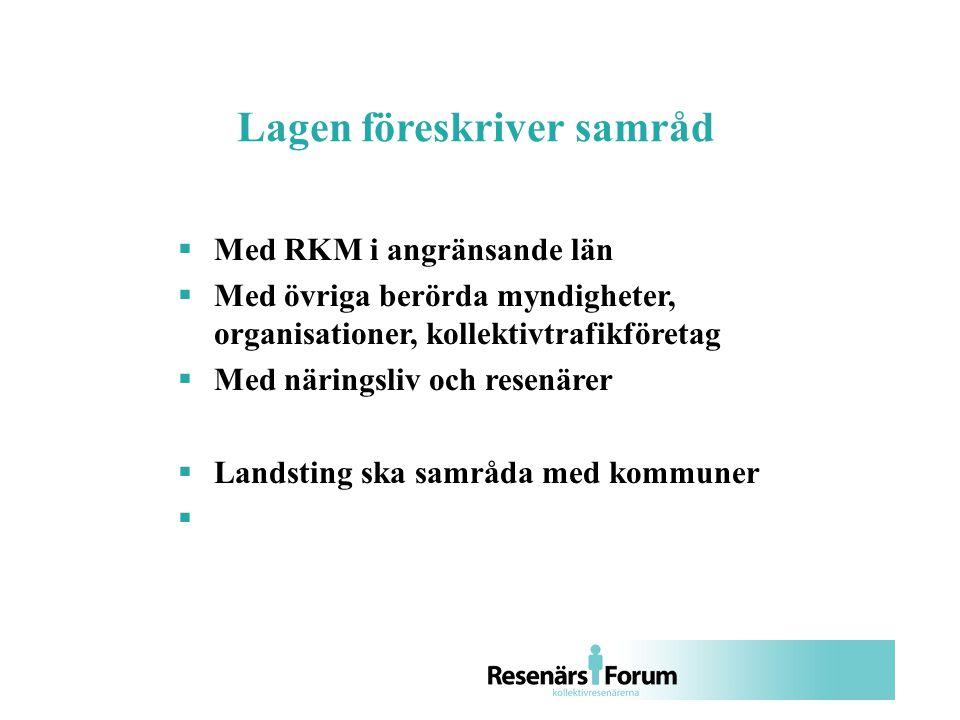  Med RKM i angränsande län  Med övriga berörda myndigheter, organisationer, kollektivtrafikföretag  Med näringsliv och resenärer  Landsting ska samråda med kommuner  Lagen föreskriver samråd