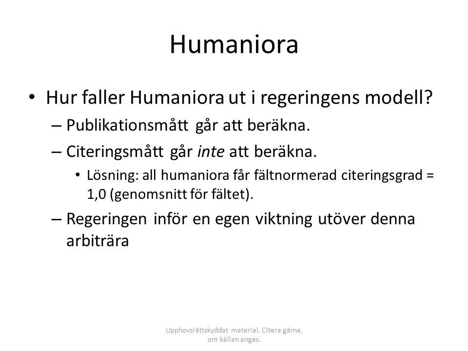 Humaniora • Hur faller Humaniora ut i regeringens modell? – Publikationsmått går att beräkna. – Citeringsmått går inte att beräkna. • Lösning: all hum