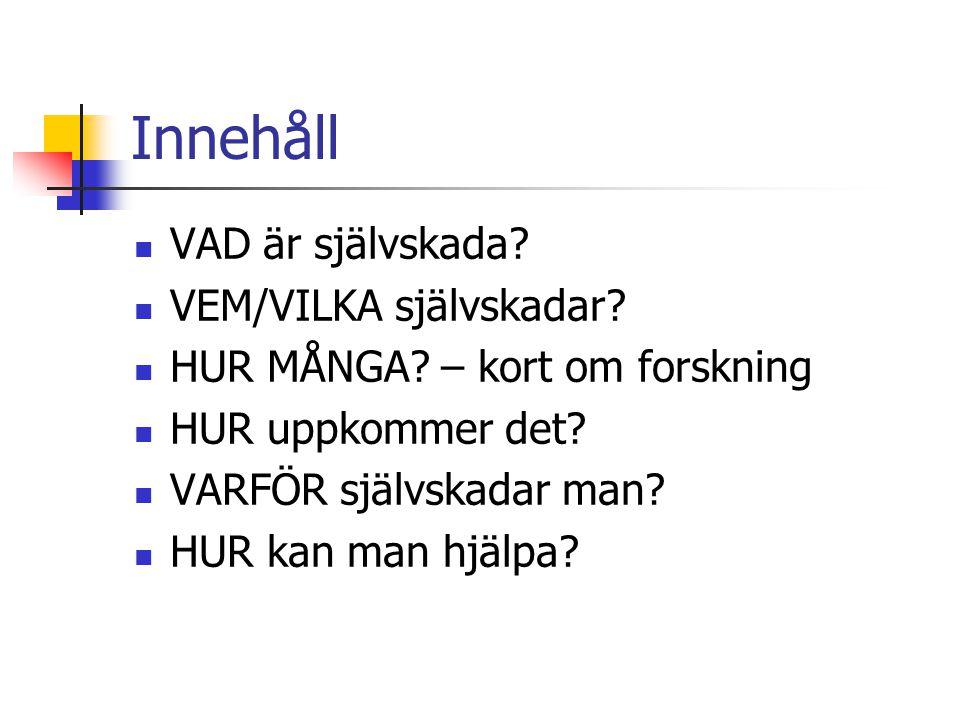 Boktips. Svein Øverland: Självskadande beteende.