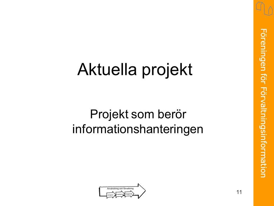 Föreningen för Förvaltningsinformation 11 Aktuella projekt Projekt som berör informationshanteringen