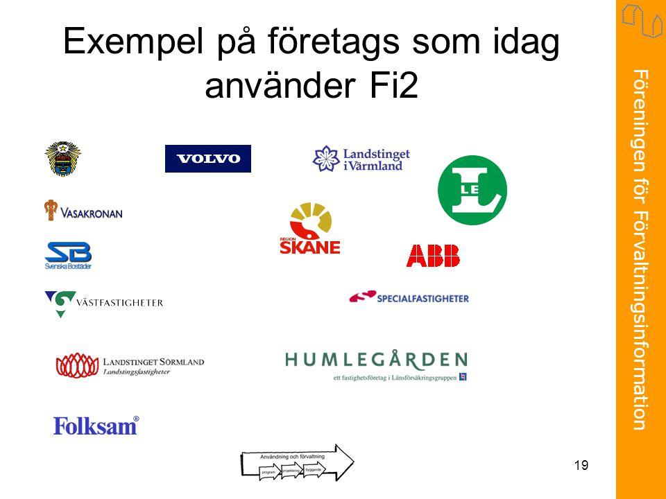 Föreningen för Förvaltningsinformation 19 Exempel på företags som idag använder Fi2