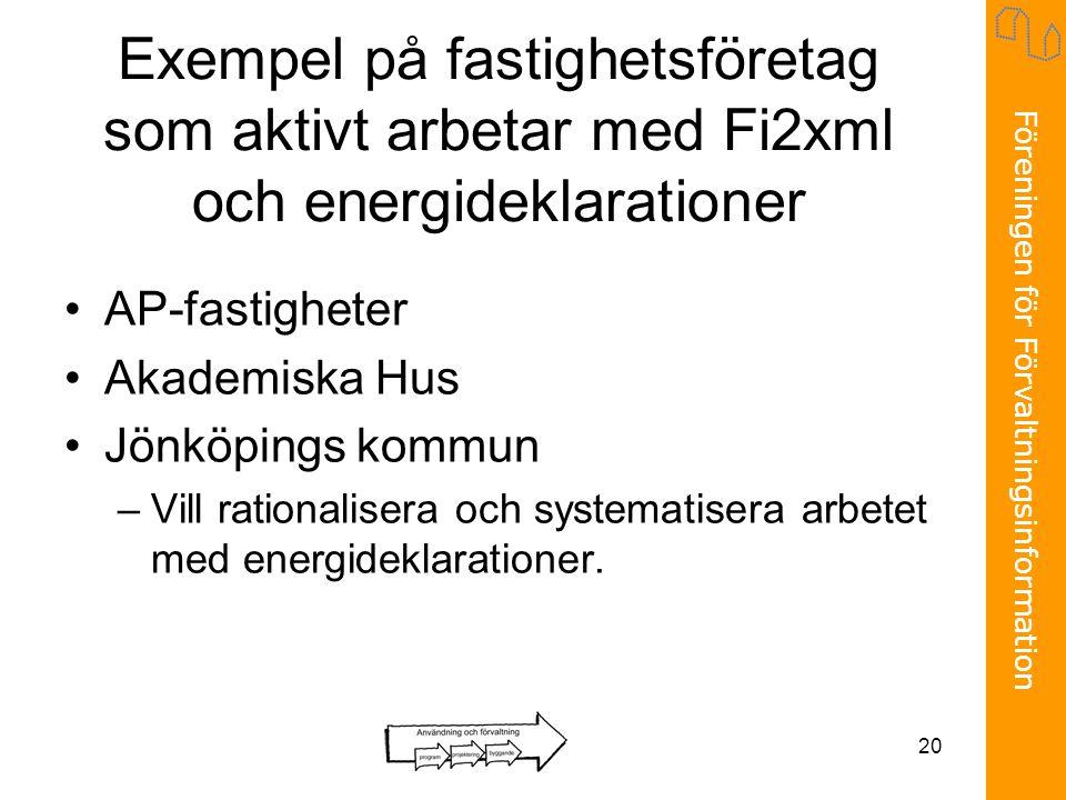 Föreningen för Förvaltningsinformation 20 Exempel på fastighetsföretag som aktivt arbetar med Fi2xml och energideklarationer •AP-fastigheter •Akademiska Hus •Jönköpings kommun –Vill rationalisera och systematisera arbetet med energideklarationer.