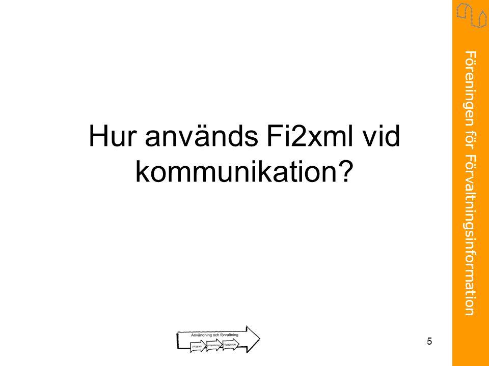 Föreningen för Förvaltningsinformation 5 Hur används Fi2xml vid kommunikation?