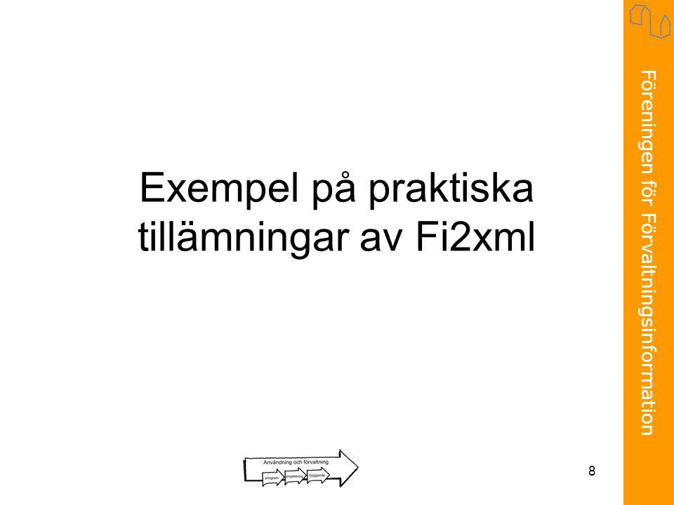 Föreningen för Förvaltningsinformation 8 Exempel på praktiska tillämningar av Fi2xml