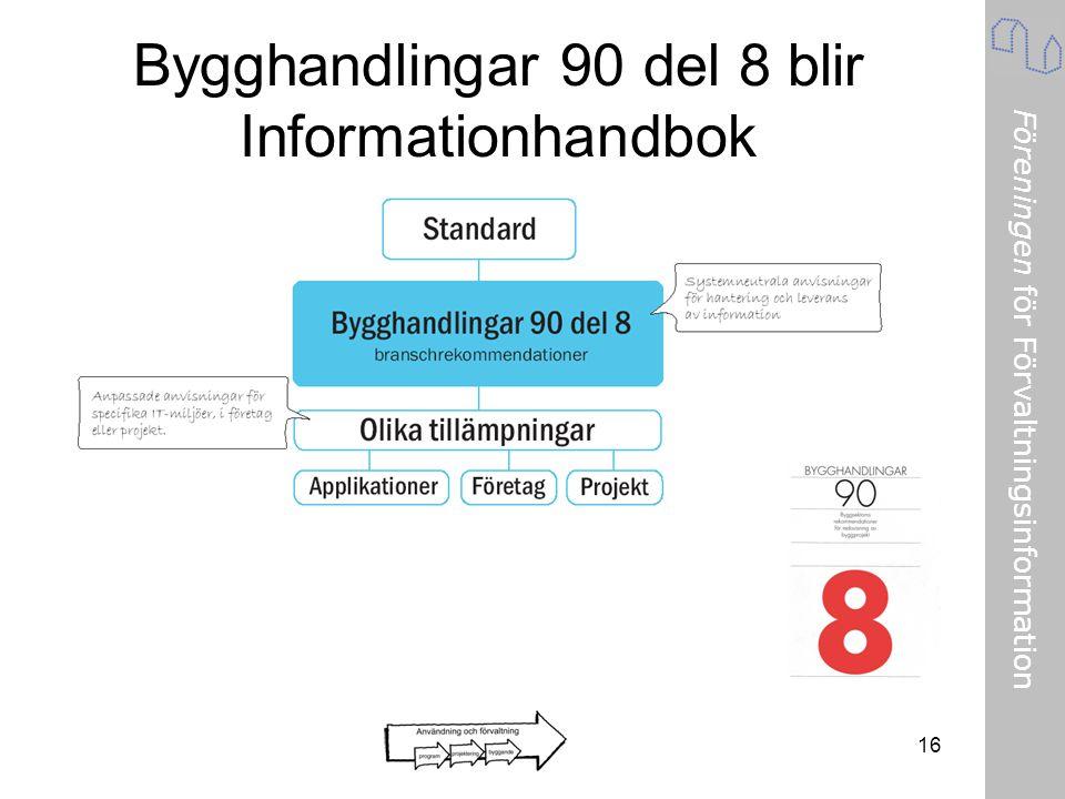 Föreningen för Förvaltningsinformation 16 Bygghandlingar 90 del 8 blir Informationhandbok