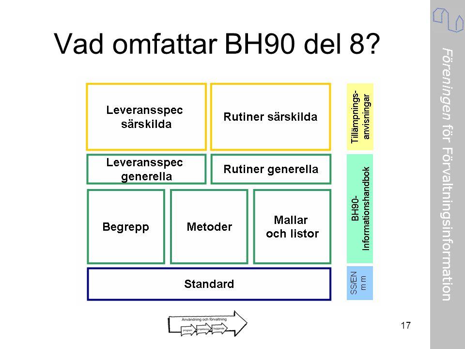 Föreningen för Förvaltningsinformation Vad omfattar BH90 del 8? 17