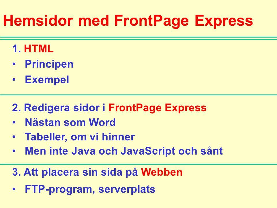 Hemsidor med FrontPage Express 1. HTML • Principen • Exempel 2. Redigera sidor i FrontPage Express • Nästan som Word • Tabeller, om vi hinner • Men in