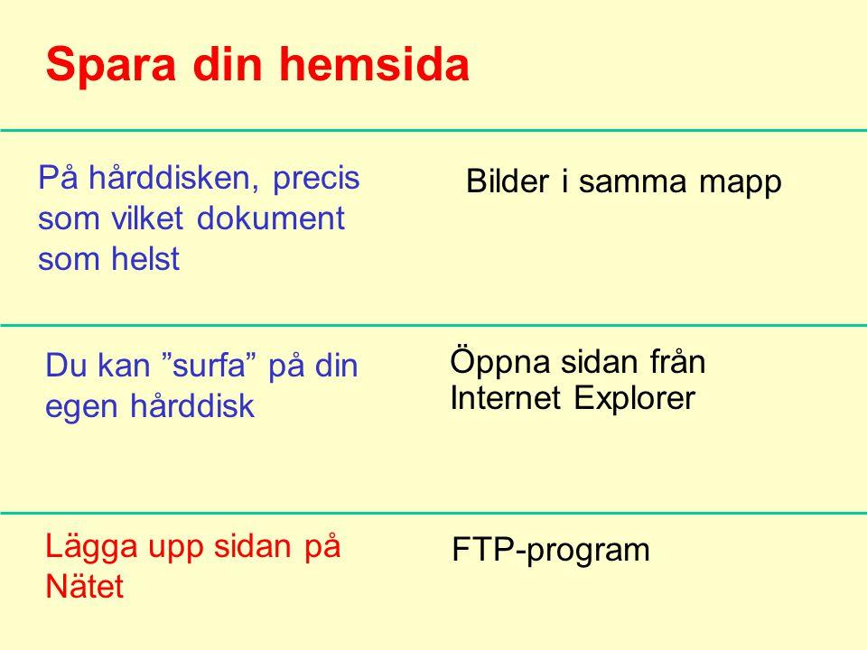 Spara din hemsida På hårddisken, precis som vilket dokument som helst Bilder i samma mapp Du kan surfa på din egen hårddisk Lägga upp sidan på Nätet Öppna sidan från Internet Explorer FTP-program