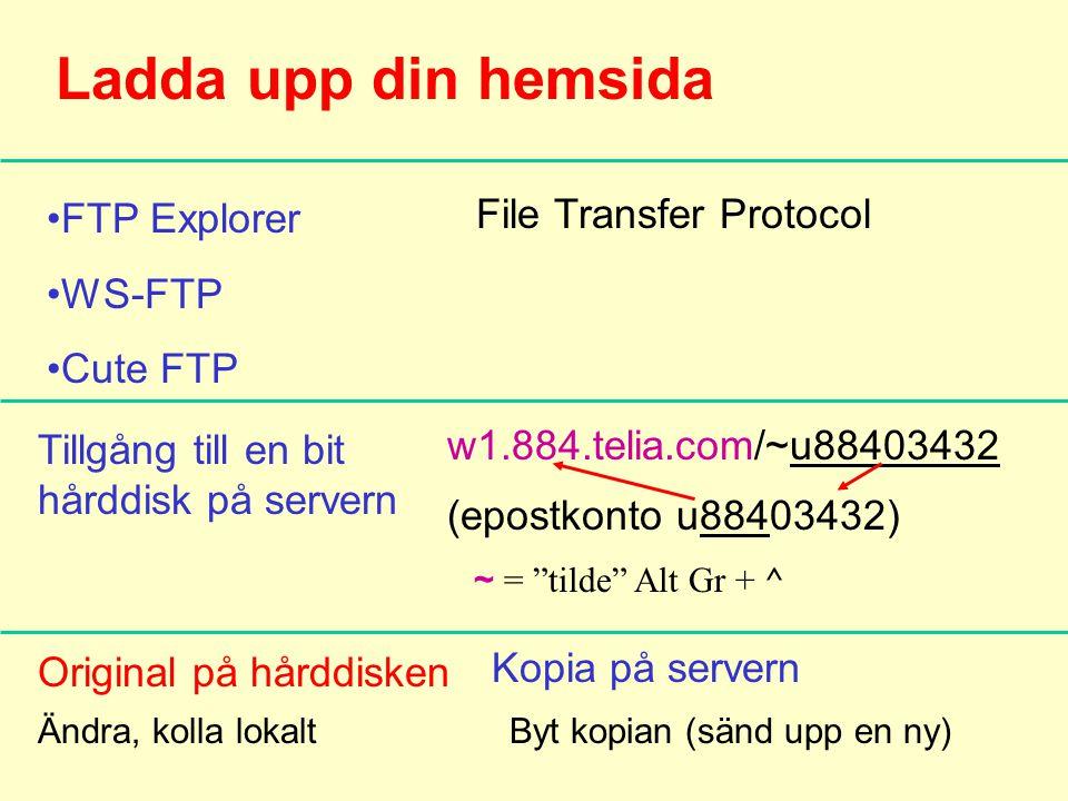 Ladda upp din hemsida •FTP Explorer •WS-FTP •Cute FTP File Transfer Protocol Tillgång till en bit hårddisk på servern Original på hårddisken w1.884.telia.com/~u88403432 (epostkonto u88403432) Kopia på servern ~ = tilde Alt Gr + ^ Ändra, kolla lokaltByt kopian (sänd upp en ny)