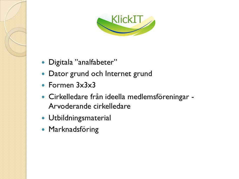  Digitala analfabeter  Dator grund och Internet grund  Formen 3x3x3  Cirkelledare från ideella medlemsföreningar - Arvoderande cirkelledare  Utbildningsmaterial  Marknadsföring