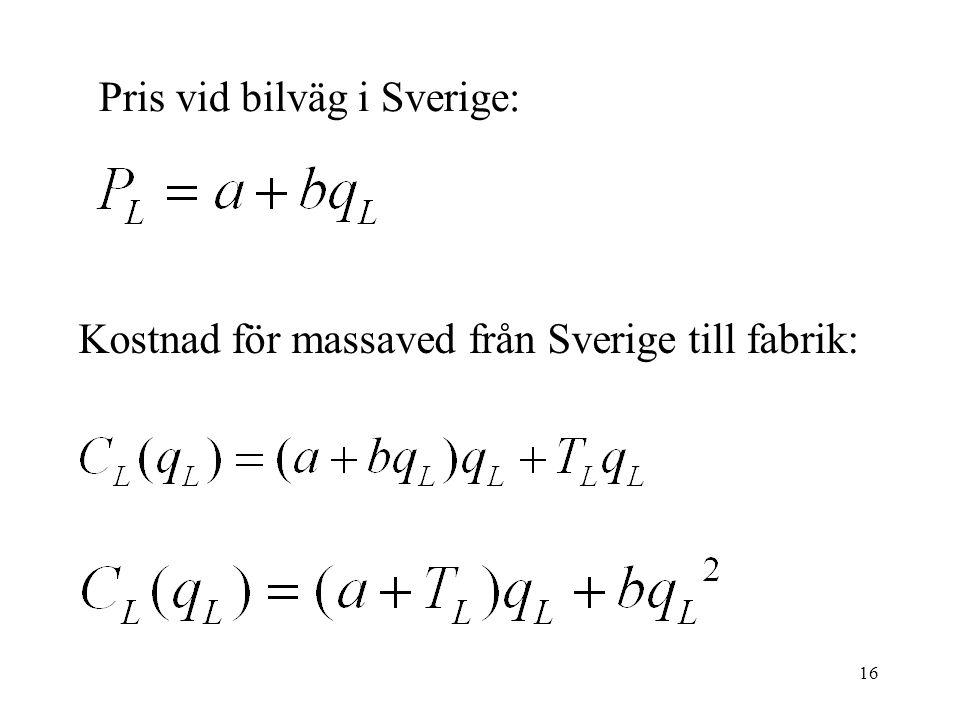 16 Pris vid bilväg i Sverige: Kostnad för massaved från Sverige till fabrik: