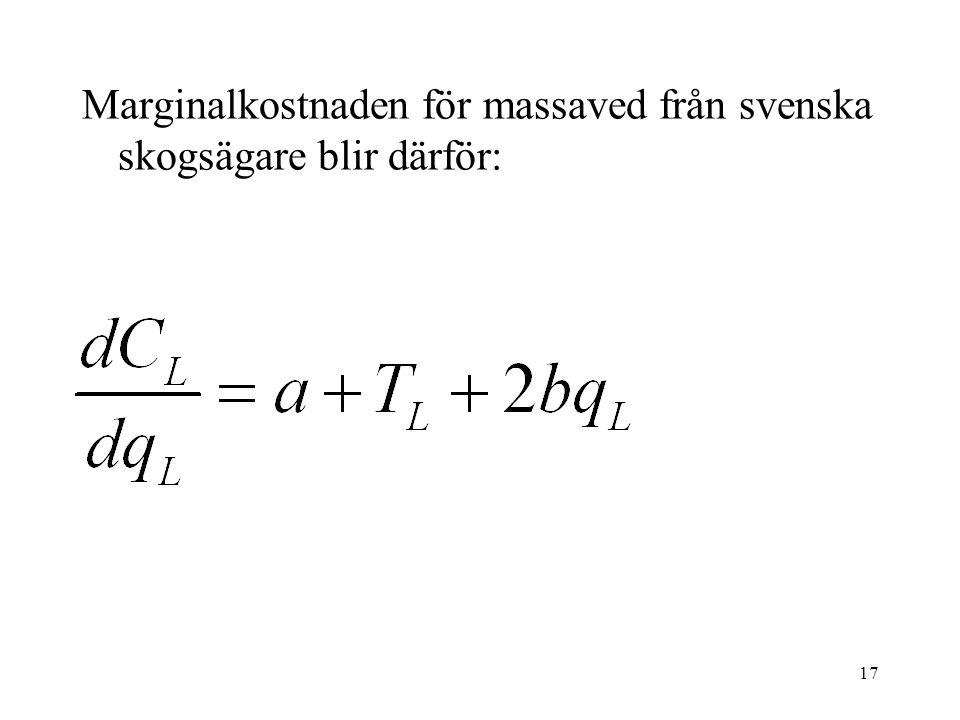 17 Marginalkostnaden för massaved från svenska skogsägare blir därför: