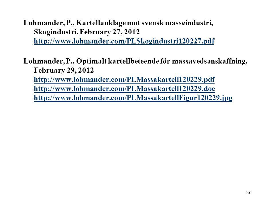 26 Lohmander, P., Kartellanklage mot svensk masseindustri, Skogindustri, February 27, 2012 http://www.lohmander.com/PLSkogindustri120227.pdf http://www.lohmander.com/PLSkogindustri120227.pdf Lohmander, P., Optimalt kartellbeteende för massavedsanskaffning, February 29, 2012 http://www.lohmander.com/PLMassakartell120229.pdf http://www.lohmander.com/PLMassakartell120229.doc http://www.lohmander.com/PLMassakartellFigur120229.jpg http://www.lohmander.com/PLMassakartell120229.pdf http://www.lohmander.com/PLMassakartell120229.doc http://www.lohmander.com/PLMassakartellFigur120229.jpg