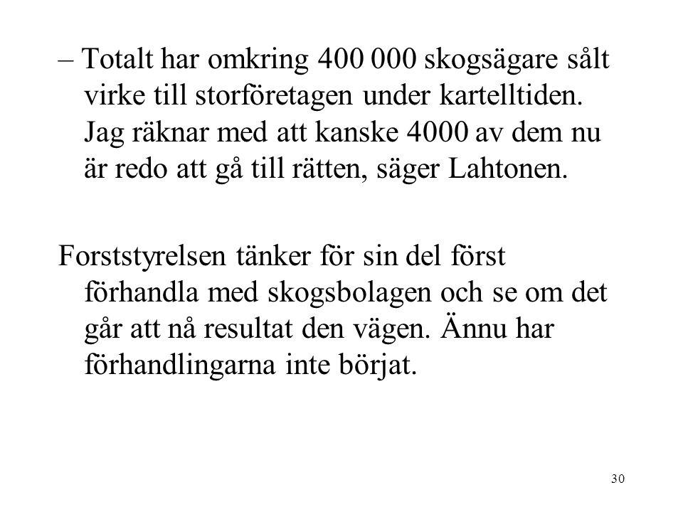 30 – Totalt har omkring 400 000 skogsägare sålt virke till storföretagen under kartelltiden.