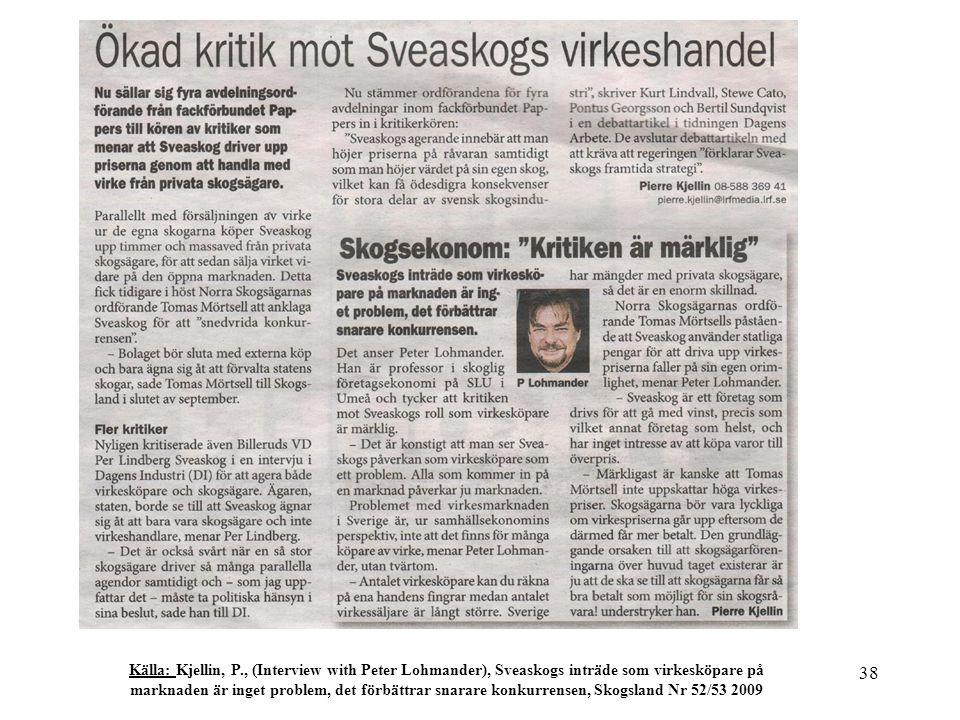 38 Källa: Kjellin, P., (Interview with Peter Lohmander), Sveaskogs inträde som virkesköpare på marknaden är inget problem, det förbättrar snarare konkurrensen, Skogsland Nr 52/53 2009