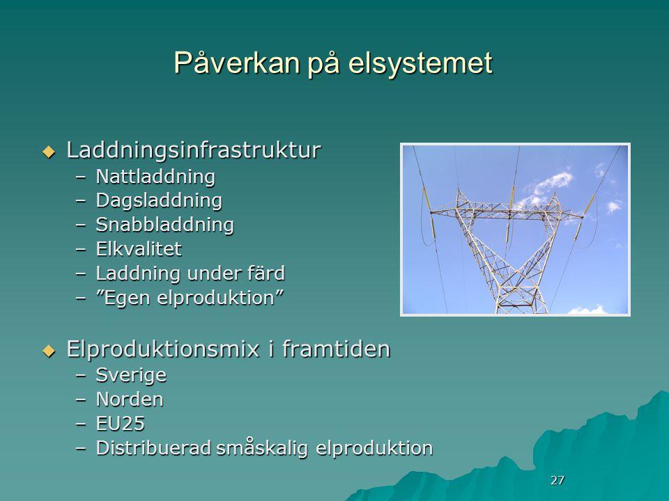27 Påverkan på elsystemet  Laddningsinfrastruktur –Nattladdning –Dagsladdning –Snabbladdning –Elkvalitet –Laddning under färd – Egen elproduktion  Elproduktionsmix i framtiden –Sverige –Norden –EU25 –Distribuerad småskalig elproduktion