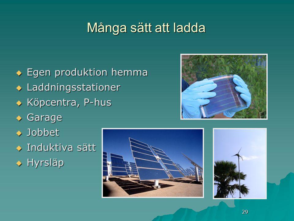 29 Många sätt att ladda  Egen produktion hemma  Laddningsstationer  Köpcentra, P-hus  Garage  Jobbet  Induktiva sätt  Hyrsläp