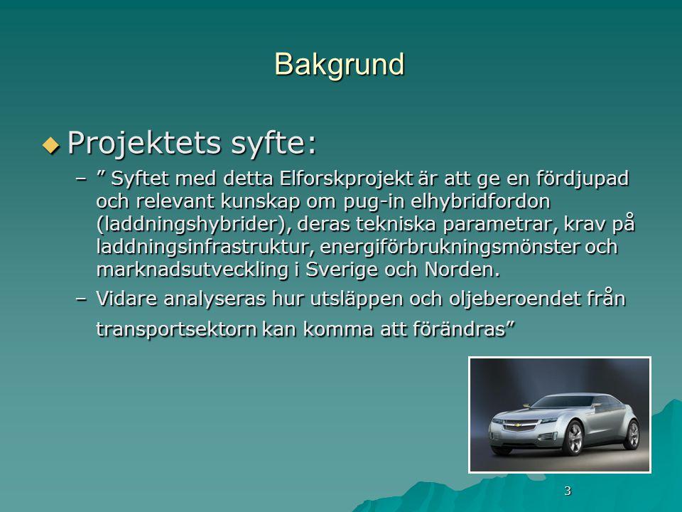 3 Bakgrund  Projektets syfte: – Syftet med detta Elforskprojekt är att ge en fördjupad och relevant kunskap om pug-in elhybridfordon (laddningshybrider), deras tekniska parametrar, krav på laddningsinfrastruktur, energiförbrukningsmönster och marknadsutveckling i Sverige och Norden.