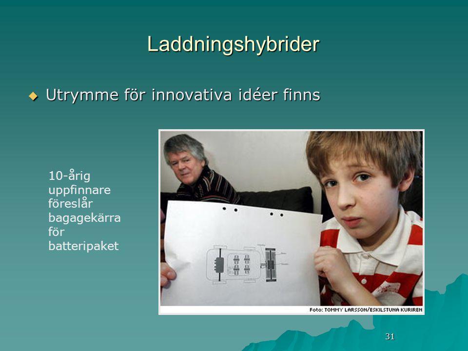 31 Laddningshybrider  Utrymme för innovativa idéer finns 10-årig uppfinnare föreslår bagagekärra för batteripaket