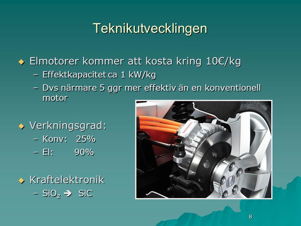 8 Teknikutvecklingen  Elmotorer kommer att kosta kring 10€/kg –Effektkapacitet ca 1 kW/kg –Dvs närmare 5 ggr mer effektiv än en konventionell motor  Verkningsgrad: –Konv: 25% –El: 90%  Kraftelektronik –SiO 2  SiC
