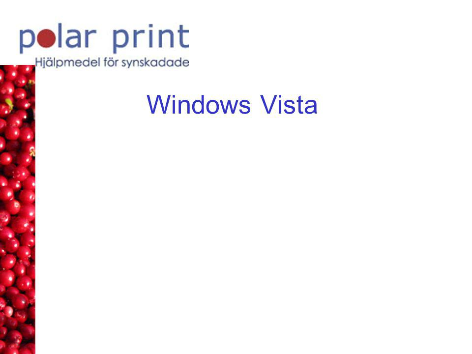 Anpassa Vista för hjälpmedel 3 Utforskaren •(ALT för att visa menyer) •Visa, Detaljerad lista •Visa, Sortera efter namn •Verktyg Mappalternativ, Använd standardmapparna för Windows •Använd, Öppna mappar i samma fönster •Fliken Visning, Avmarkera, Dölj filnamnstillägg för kända filtyper •Avmarkera, Kom ihåg inställningar för visning för varje mapp •Avmarkera, Visa popup-beskrivningar för mappar och skrivbordsobjekt •Använd i alla mappar