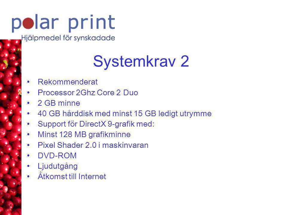 Systemkrav 2 •Rekommenderat •Processor 2Ghz Core 2 Duo •2 GB minne •40 GB hårddisk med minst 15 GB ledigt utrymme •Support för DirectX 9-grafik med: •Minst 128 MB grafikminne •Pixel Shader 2.0 i maskinvaran •DVD-ROM •Ljudutgång •Åtkomst till Internet