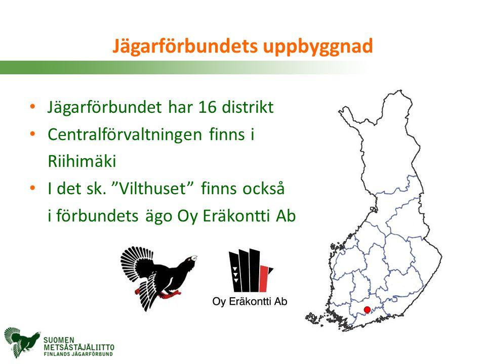 """• Jägarförbundet har 16 distrikt • Centralförvaltningen finns i Riihimäki • I det sk. """"Vilthuset"""" finns också i förbundets ägo Oy Eräkontti Ab Jägarfö"""