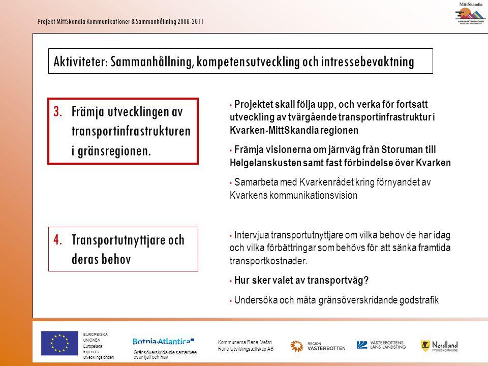 EUROPEISKA UNIONEN Europeiska regionala utvecklingsfonden Gränsöverskridande samarbete över fjäll och hav Kommunerna Rana, Vefsn Rana Utviklingssellskap AS Projekt MittSkandia Kommunikationer & Sammanhållning 2008-2011 Aktiviteter: Sammanhållning, kompetensutveckling och intressebevaktning 3.Främja utvecklingen av transportinfrastrukturen i gränsregionen.