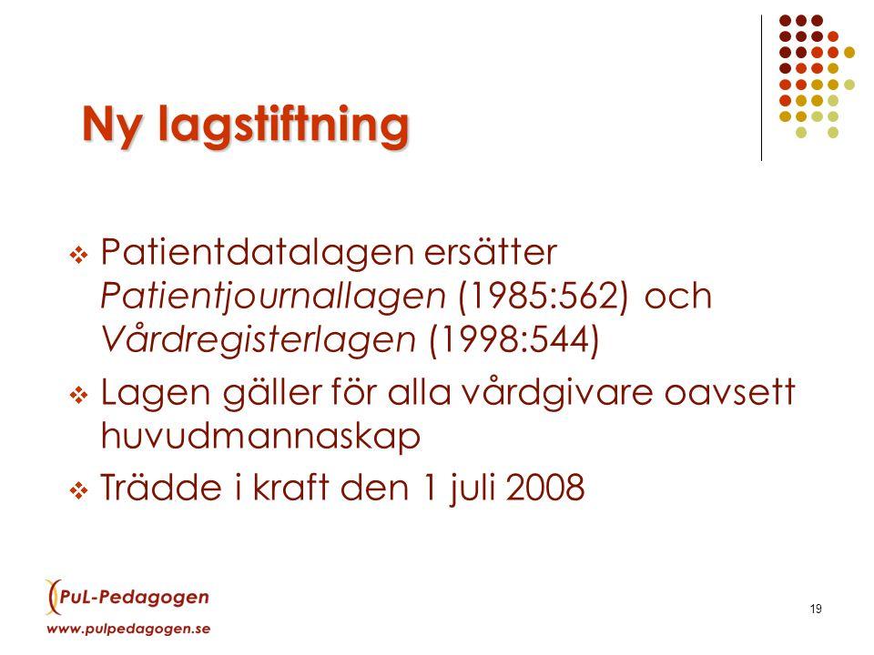 19 Ny lagstiftning  Patientdatalagen ersätter Patientjournallagen (1985:562) och Vårdregisterlagen (1998:544)  Lagen gäller för alla vårdgivare oavsett huvudmannaskap  Trädde i kraft den 1 juli 2008
