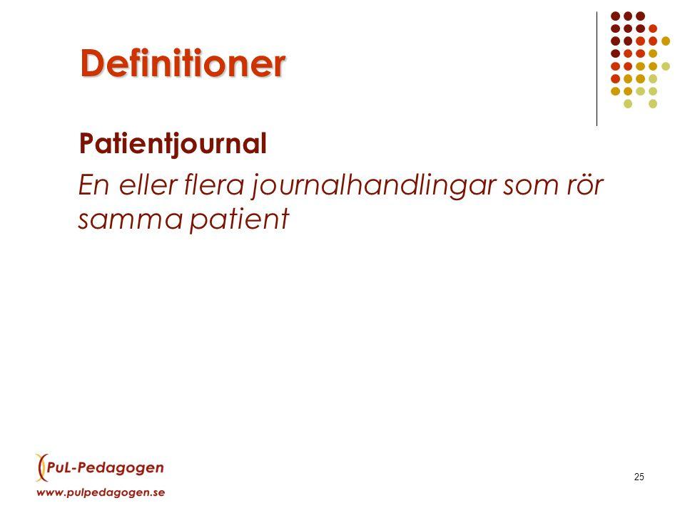 25 Definitioner Patientjournal En eller flera journalhandlingar som rör samma patient