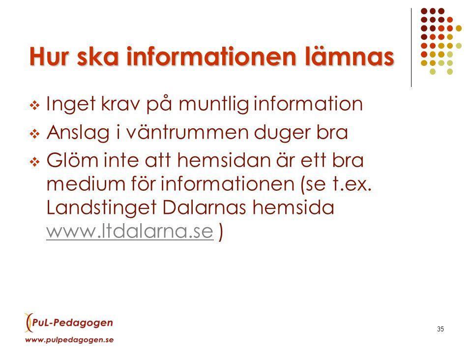 35 Hur ska informationen lämnas  Inget krav på muntlig information  Anslag i väntrummen duger bra  Glöm inte att hemsidan är ett bra medium för informationen (se t.ex.