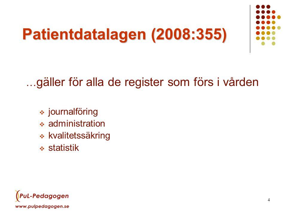 4 Patientdatalagen (2008:355) … gäller för alla de register som förs i vården  journalföring  administration  kvalitetssäkring  statistik