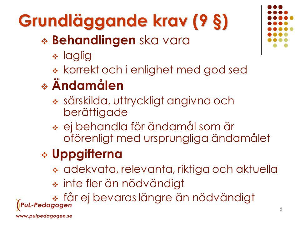 9 Grundläggande krav (9 §)  Behandlingen ska vara  laglig  korrekt och i enlighet med god sed  Ändamålen  särskilda, uttryckligt angivna och berättigade  ej behandla för ändamål som är oförenligt med ursprungliga ändamålet  Uppgifterna  adekvata, relevanta, riktiga och aktuella  inte fler än nödvändigt  får ej bevaras längre än nödvändigt