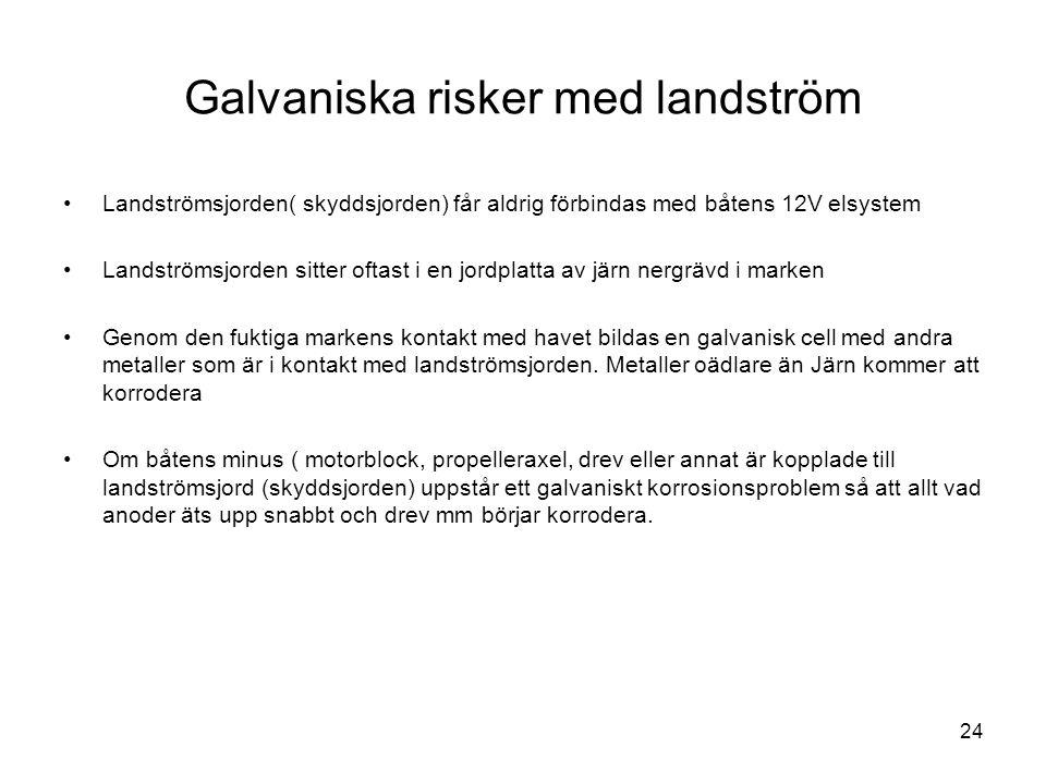 24 Galvaniska risker med landström •Landströmsjorden( skyddsjorden) får aldrig förbindas med båtens 12V elsystem •Landströmsjorden sitter oftast i en