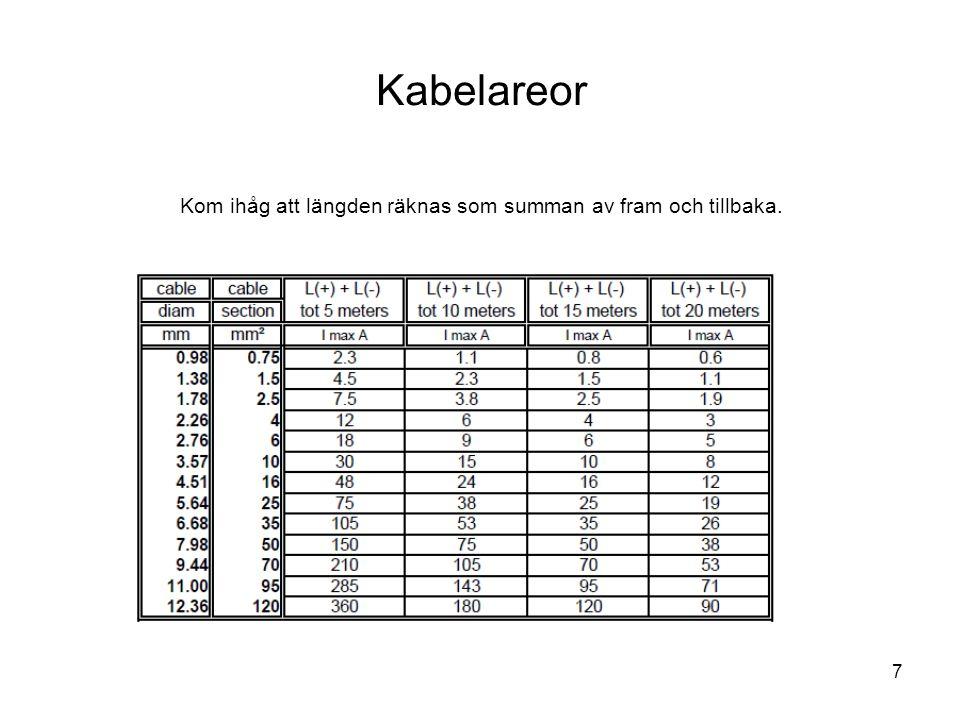 7 Kabelareor Kom ihåg att längden räknas som summan av fram och tillbaka.