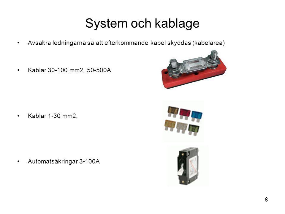 8 System och kablage •Avsäkra ledningarna så att efterkommande kabel skyddas (kabelarea) •Kablar 30-100 mm2, 50-500A •Kablar 1-30 mm2, •Automatsäkring