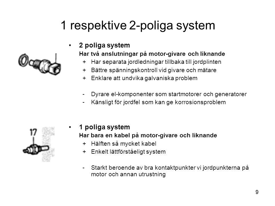 9 1 respektive 2-poliga system •2 poliga system Har två anslutningar på motor-givare och liknande +Har separata jordledningar tillbaka till jordplinte