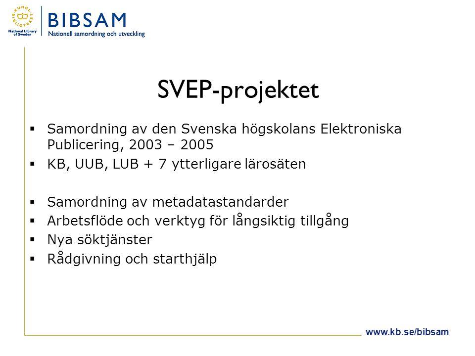 SVEP-projektet  Samordning av den Svenska högskolans Elektroniska Publicering, 2003 – 2005  KB, UUB, LUB + 7 ytterligare lärosäten  Samordning av metadatastandarder  Arbetsflöde och verktyg för långsiktig tillgång  Nya söktjänster  Rådgivning och starthjälp