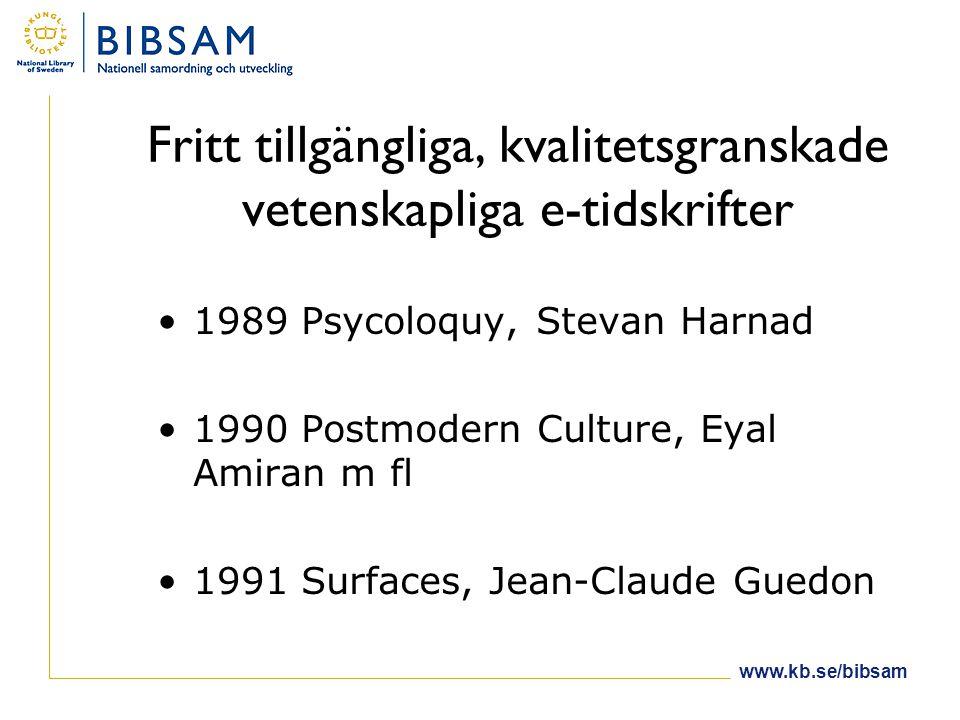 www.kb.se/bibsam Fritt tillgängliga, kvalitetsgranskade vetenskapliga e-tidskrifter •1989 Psycoloquy, Stevan Harnad •1990 Postmodern Culture, Eyal Amiran m fl •1991 Surfaces, Jean-Claude Guedon