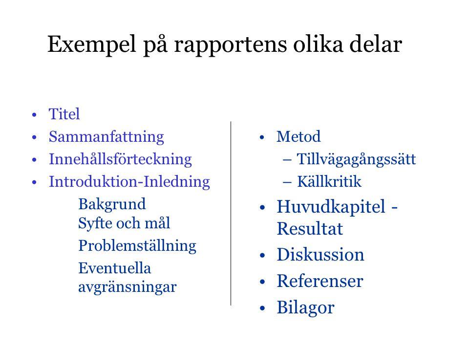 Exempel på rapportens olika delar •Titel •Sammanfattning •Innehållsförteckning •Introduktion-Inledning Bakgrund Syfte och mål Problemställning Eventue